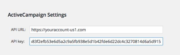 Fast ActiveCampaign API Settings