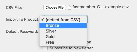 Fast Member CSV Import Product Selection