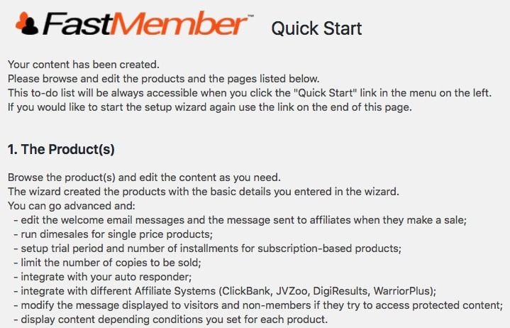 Fast Member Quick Start Wizard Checklist