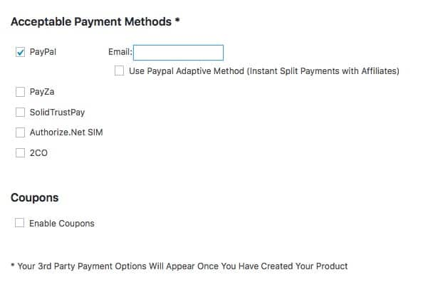 Fast Member Quick Start Wizard Payment Methods